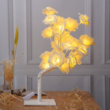 Светодиодный светильник с розами, венок, гирлянда, гирлянда, украшение для свадебной вечеринки, 220 В, розовый цветок, ночник, EU Plug, прикроватная лампа