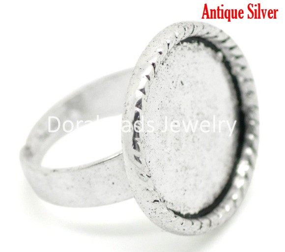 DoreenBeads Antique Silver Adjustable Ring Settings 18.3mm US 8 (Fit 18mm) 10 (B16406) yiwu