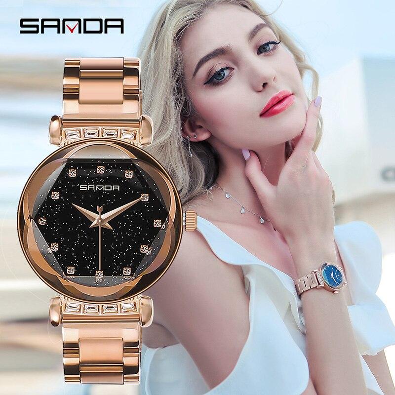 Sanda 2018 Новые водонепроницаемые Звездные женские часы модные женские часы из нержавеющей стали Студенческие Кварцевые Часы Relogio Feminino