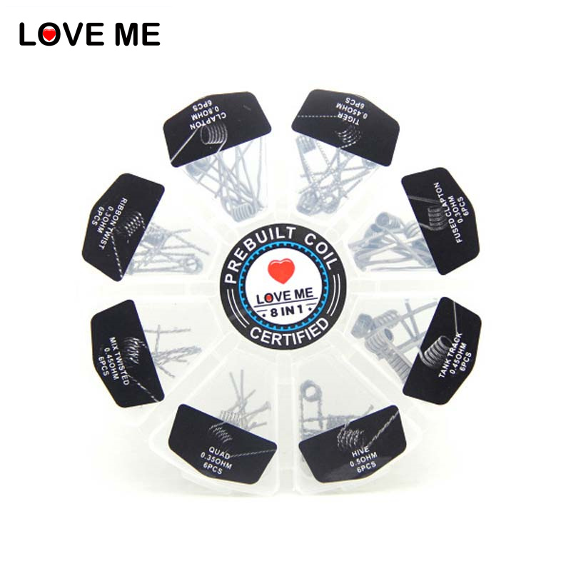 Love Me 8 In 1 Prebuilt Coil Box Kit Hive Tank track Quad Tiger Fused clapton Mix twisted Clapton Ribbon twist premade wires
