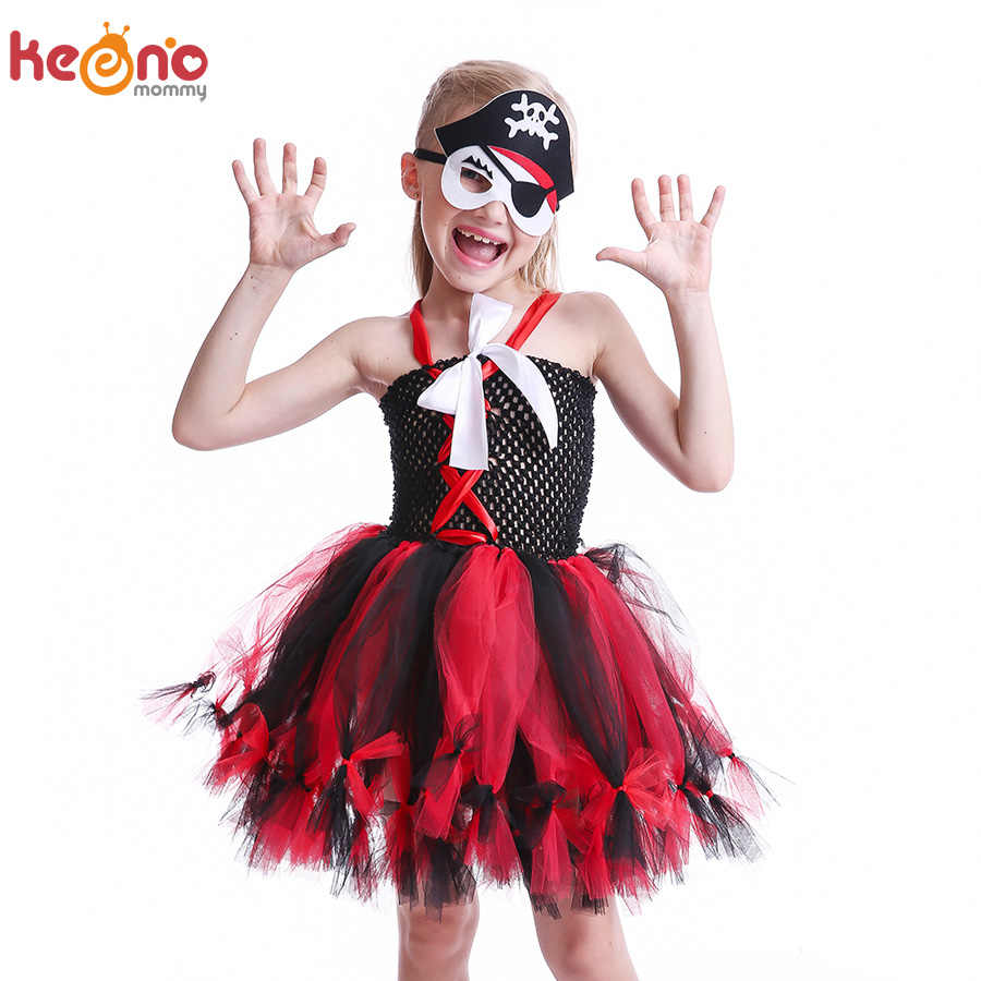 Girls Pirate Wench Tutu Dress with Skull Mask Petti Style