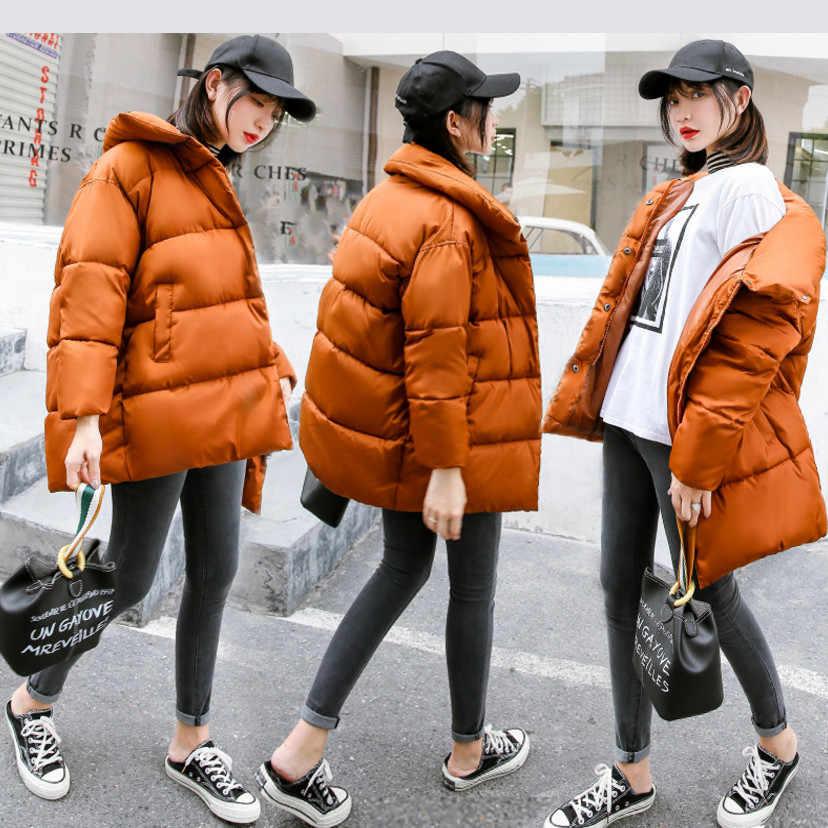 -Katoen gewatteerd jack Vrouwen Verdikking Gewatteerde Jas Vrouwelijke Parka Fashion Hooded Solid Losse Bovenkleding Voor Kantoor Dame M-XXL