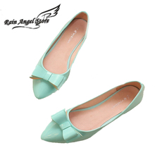 ขนาดบวก34-43 PUหนังแฟลตนิ้วเท้าชี้น้อมเดียวรองเท้าหญิงรองเท้าส้นแบนเรือแฟลตสีลูกอมของผู้หญิงรองเท้า