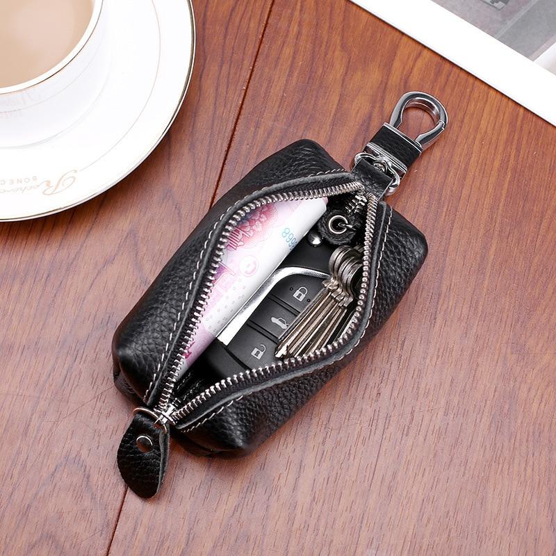 New Hot Sale Car Keys Holder Genuine Leather Coin Purse Men Key Wallets Women Housekeeper Keys Case with Keys Chain