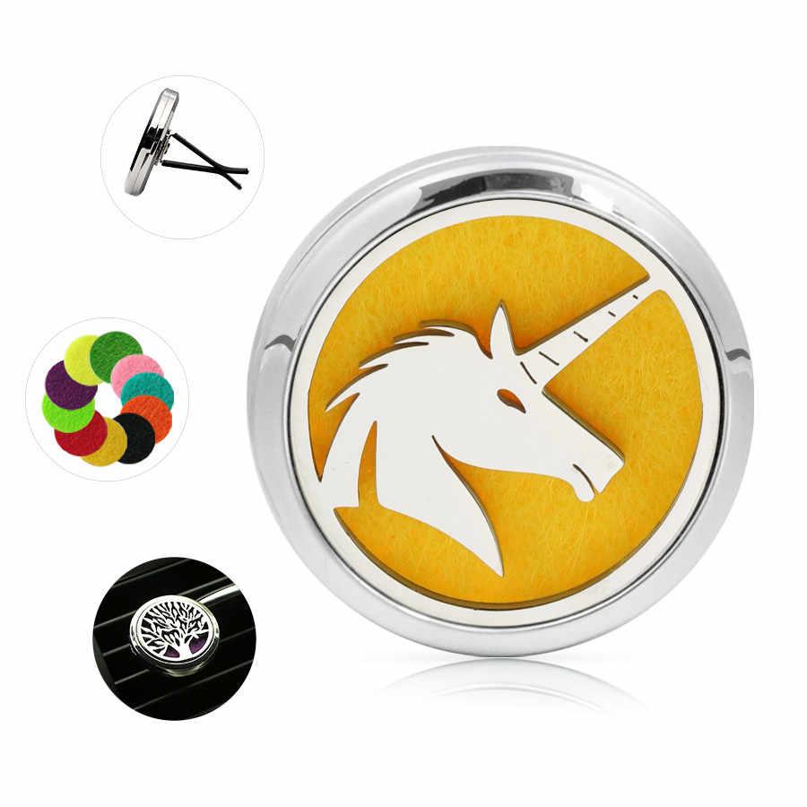 Bonito Ángel Lotus perro copo de nieve unicornio clips de ventilación del coche difusor medallón Perfume Aceite Esencial Perfume medallón 10Pad
