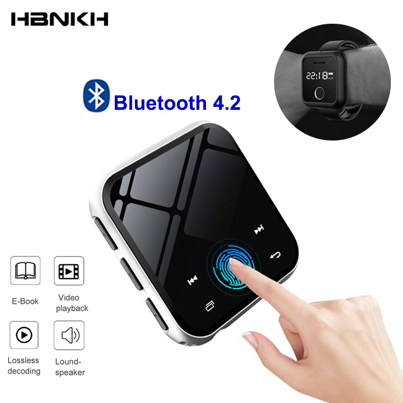 HBNKH USB Mini MP3 Player Bluetooth 4.2 Portable Video Music Player HIFI FM Radio Voice Recorder 1.8' Touch Screen With Speaker