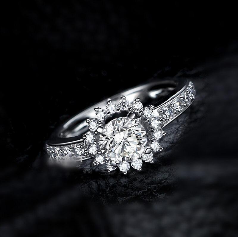0.8 carat Simple Fashion Flower shape Ring 925 Sterling Silver SONA Diamond Ring Engagement Ring (XJ)