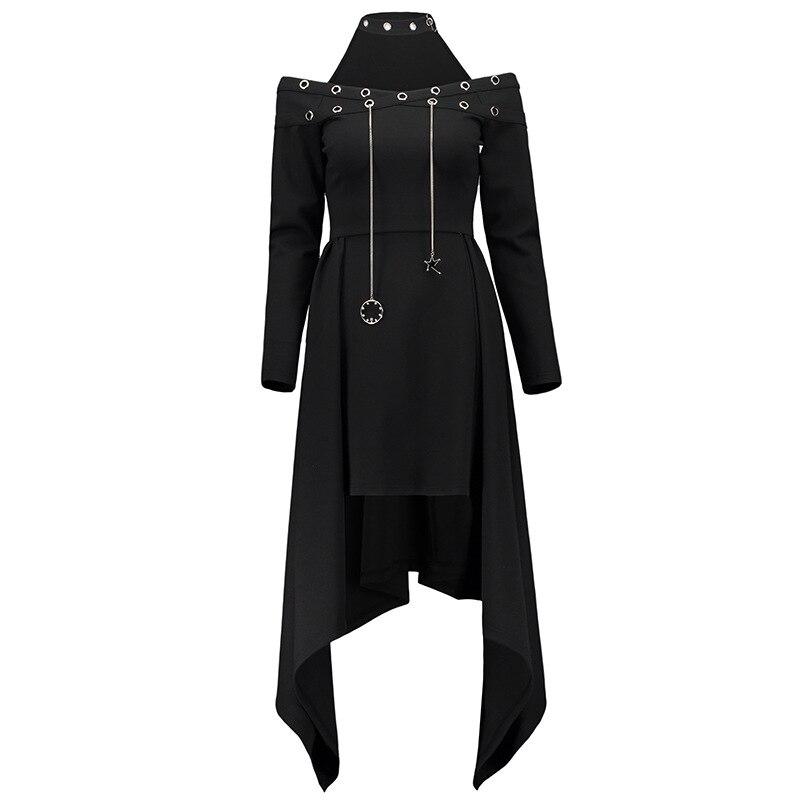 Femmes gothique robe automne noir Punk Rock Drop Star asymétrique haute basse robe Streetwear mode dame épaule dénudée Goth robe