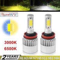 BraveWay 3000K Yellow+6500K White Dual LED Fog Lamps for Car H1 H3 H7 H8 H11 HB3 HB4 9005 9006 H3 LED Bulb H8 LED Fog Light