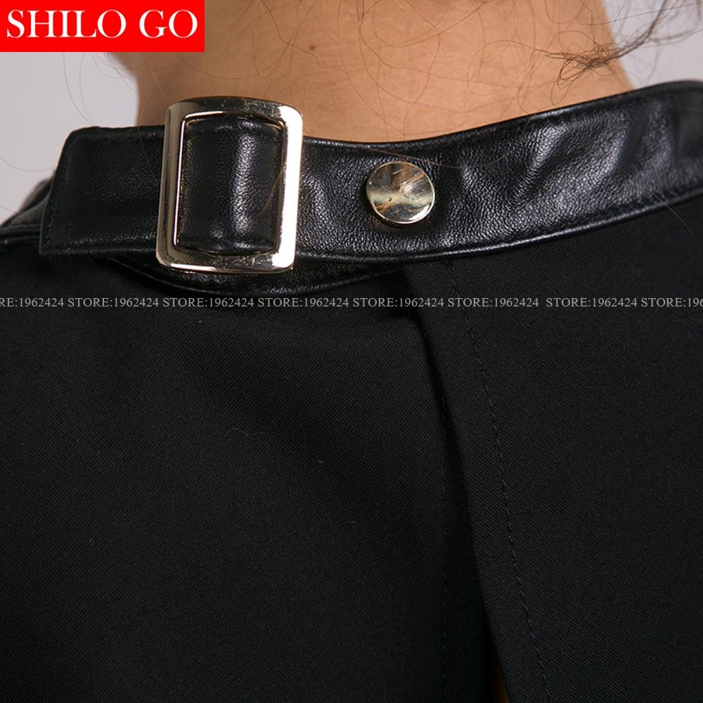 Plus Femmes Peau Sans Noir Cuir O De 3xl Véritable En cou Taille Nouvelles Mode Manches Jupe Mouton Qualité Chemise Haute Sexy La Courte Dos rqw8rx7t