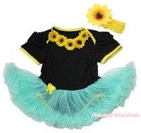 Letnie słoneczniki sznurowania plaża czarny body dziewczyny majsa0636 aqua niebieski strój dla dziecka nb-18m