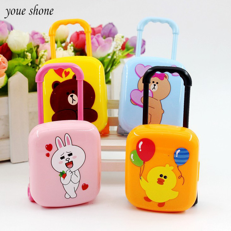 1sets Korea Stationery Cartoon Cute Bear Suitcase Erasers sets Trolley Case Shape rubber Eraser Children Stationery for shool