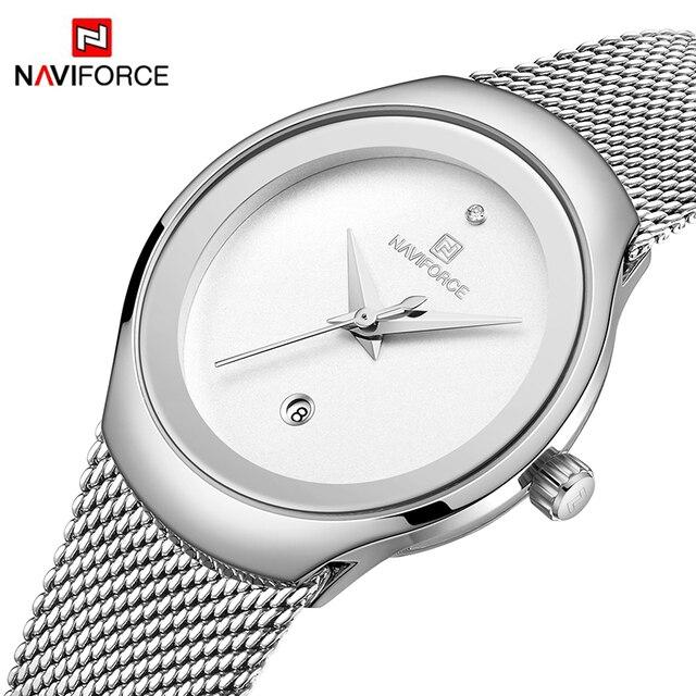 Zegarki damskie NAVIFORCE Top luksusowa marka Lady Fashion Casual prosty stalowy siatkowy zegarek na rękę z paskiem, bransoletą prezent dla dziewczyn Relogio Feminino