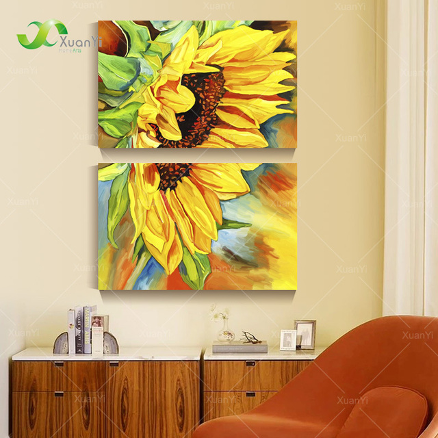 2 Panel Modern Printed Sunflower Oil Painting Picture Cuadros Canvas ...