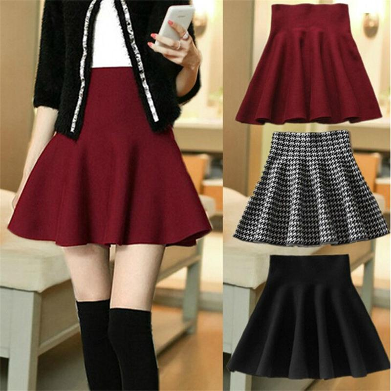 2015 New Autumn Winter Short Skirts Woman High Waist Knitting Woolen Skirt Female Plus Size Pleated Skirt Free ShippingC028