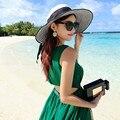 Dama de la moda Blanco y Negro Tapa de Ala Ancha Sombrero de Paja Sombrero para el Sol Plegable Viajando