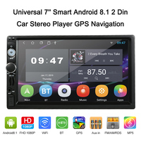 7'' Smart Android 8.1 2 Din BT Car Stereo Radio Player GPS Navigator + Wi Fi AM / FM / RDS Free Map Rearview Camera