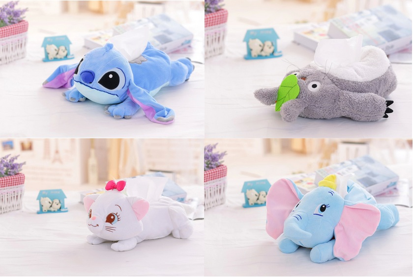 lovely cartoon plush toy Totoro Stitch Marie cat duck Dumbo elephant Tissue Box Cover Paper Towel Cases birthday gift 1pc
