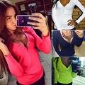 Kaywide Осень 2016 мода плюс размер V шеи женщины т рубашка панк С Длинным рукавом купированные sexy топ тис женщины camisetas femininas