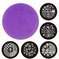 1 unids Nueva Púrpura Plástico Nail Art Stamping Placas 7 cm OM-D Series Polaco DIY Diseño Manicura de Transferencia de La Plantilla Del Molde herramientas