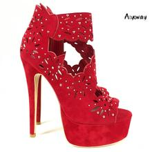 Aiyoway Women Shoes Peep Toe High Heels Sandals Platform Cut-out Flower Pattern Ladies Wedding Party Shoes Sexy thin Heels