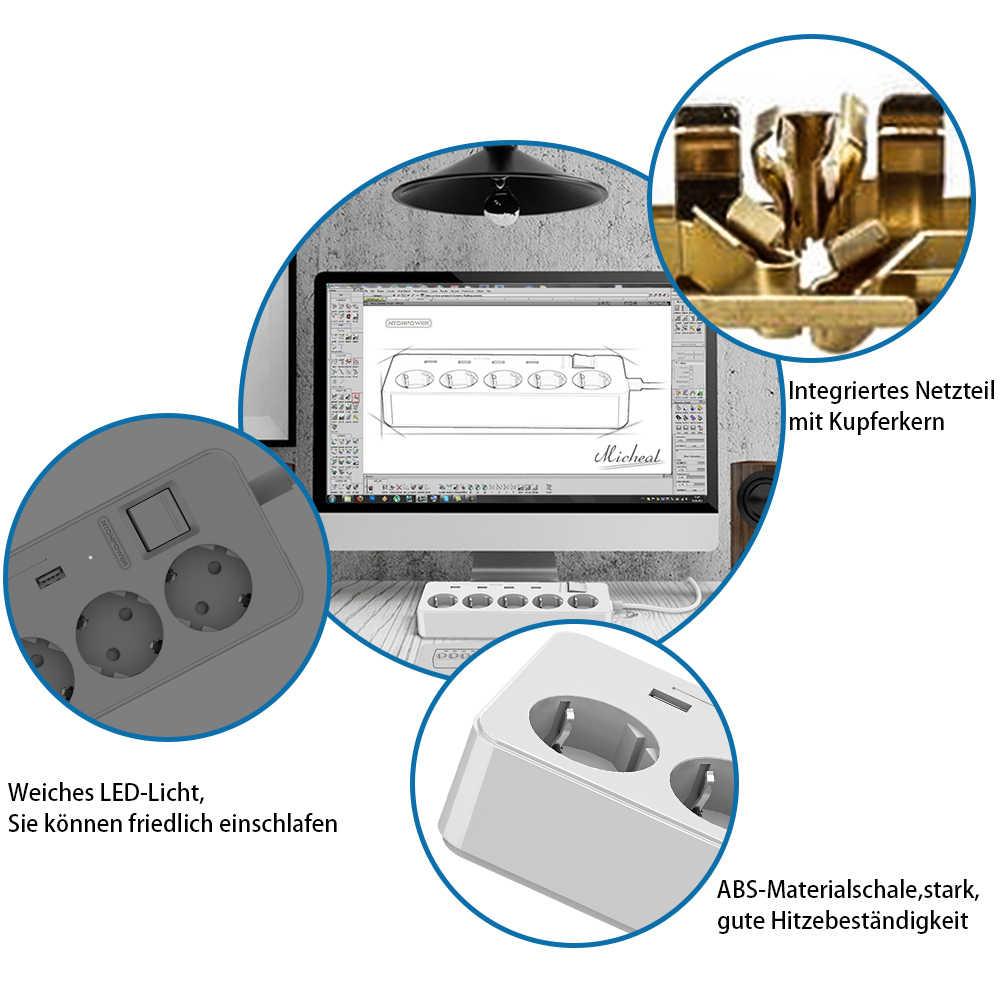 Nton Мощность MPS USB Расширители ЕС Plug Мощность Outlet 5 AC Стабилизатор напряжения Защита от перегрузки с 4 USB интеллектуальная подзарядка Порты
