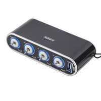 4 Way Multi Socket Car Charger Vehicle Auto Car Cigarette Lighter Socket Splitter Dual USB Ports