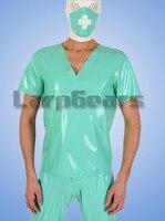 Fetish Latex Docter Uniform With Masks Rubber Nurse Professional Clothing Sets