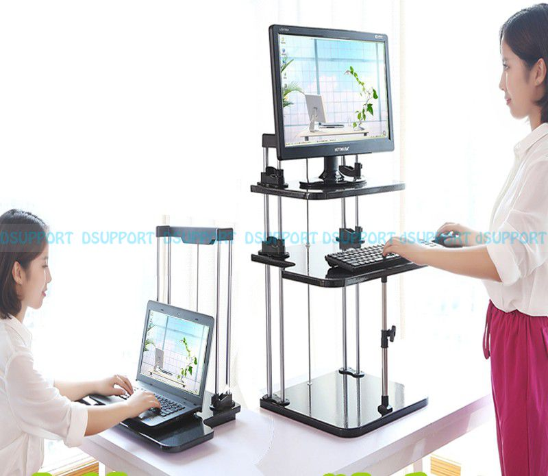 Sit/Stand Desk Riser Three Level Height Adjustable Lightweight Standing Laptop Desk Notebook/Monitor Holder Stand wood birch computer monitor riser stand dock holder for imac notebook laptop pc