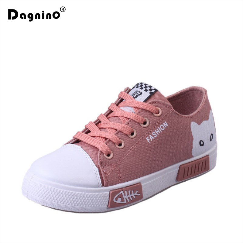 DAGNINO Women Flat Lace-up Breathable Trainers Casual Walking Shoes All-match White Canvas Shoes Print Woman Sneakers Footwear m genreal 2017 new women white shoes all match summer breathable leather shoes vulcanized casual shoes candy color lace 35 39