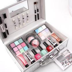 Pro Makeup Set With Aluminum Box Cosmetics Bag Methyl Oil Lipstick Lip Gloss Blush Eyeshadow Brushes Makeup Artist Make Up Set