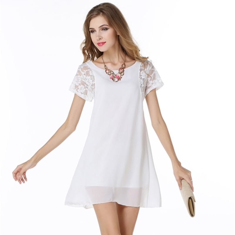 Buy Cheap Lace Sleeve Patchwork Chiffon Dress Hollow Out 2017 Summer Dress Women Short Sleeve O-Neck A-Line Mini Party Dresses Plus Size