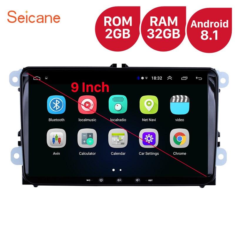 Seicane pour VW/Volkswagen/Golf/Tiguan/Passat/b6 b5 RAM 2GB ROM 32GB 9 pouces Android 8.1 unité de tête de voiture lecteur stéréo Radio GPS