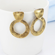 Geometric Round Zinc Copper Alloy Trendy Vintage Ethnic Circle Women Hanging Drop Dangle Earrings