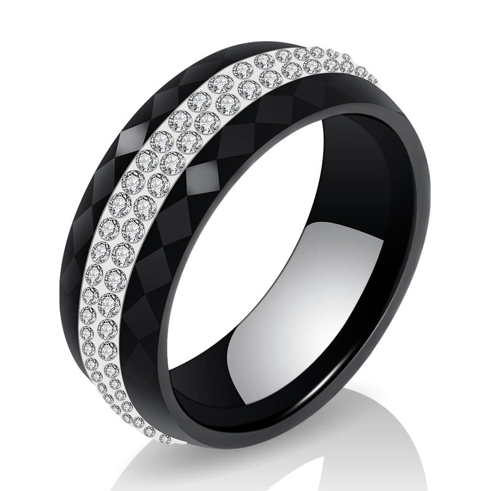 High Quality Black And White Simple Style Simply Crystal Ceramic Rings for Women 4