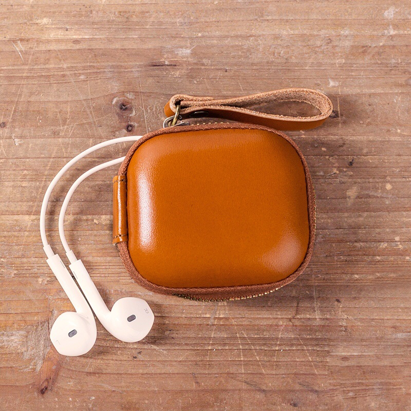 Womens Portable Genuine Leather Coin Purse Small Purse Cable headset storage box Trumpet travel key pack purely handmade