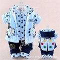 Зима новорожденного младенца девушка одежда комплект одежды наборы 3 шт. (жилет + пальто + брюки) синий красный желтый сладкий милой принцессы