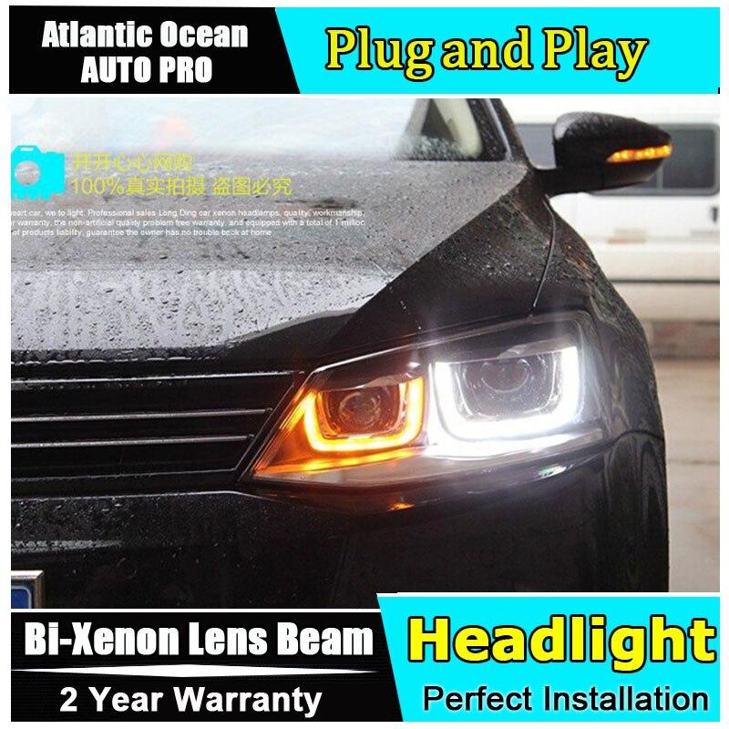 Авто Pro 2011 2012 2013 2014 для автомобиля VW Джетта фары стайлинга у СИД DRL Bi-ксенон с двойными линзами для головки Фольксваген Джетта МК6 светильники парковые