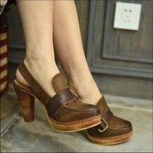 2017 vintage thick heels high heels women sandals genuine leather platform buckle women's shoes 16015-3