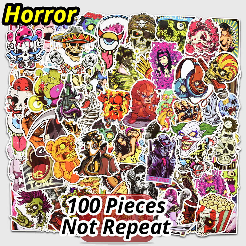 100 Pcs Horror Stickers for Laptop Luggage Skateboard Bike Motorcycle Car Styling Home Doodle Decals Cool Waterproof Sticker