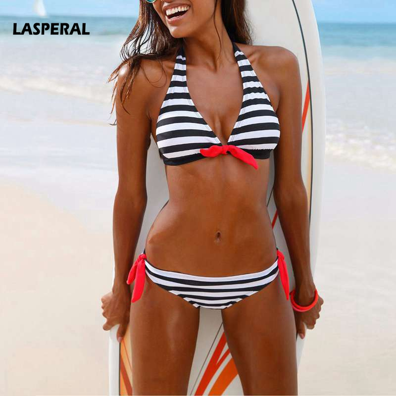 LASPERAL 2017 New Striped Bikini Set Women Sexy Halter Bowknot Two Pieces Swimsuit Swimwear Female Beach Biquini Bathing Suit 2017 may beach halter bikini one pieces indoor asian swimsuit miley cyrus costume departure beach black swimsuit seafolly