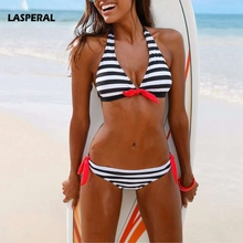 LASPERAL 2017 New Striped Bikini Set Women Sexy Halter Bowknot Two Pieces Swimsuit Swimwear Female Beach Biquini Bathing Suit