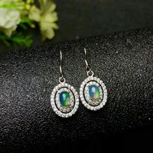 shilovem 925 sterling silver Natural opal Drop Earrings fine Jewelry Customizable women trendy wedding wholesale yhj040601ago v ya 925 sterling silver moon shape drop earrings elegant green opal stone earrings vintage women earrings female fine jewelry