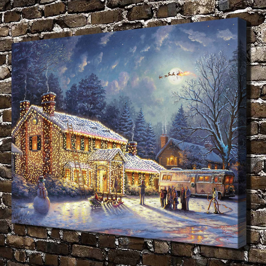 Christmas house painting - H1395 Thomas Kinkade Snow Christmas House Scenery Hd Canvas Print Home Decoration Living Room Bedroom Wall Pictures Art Painting