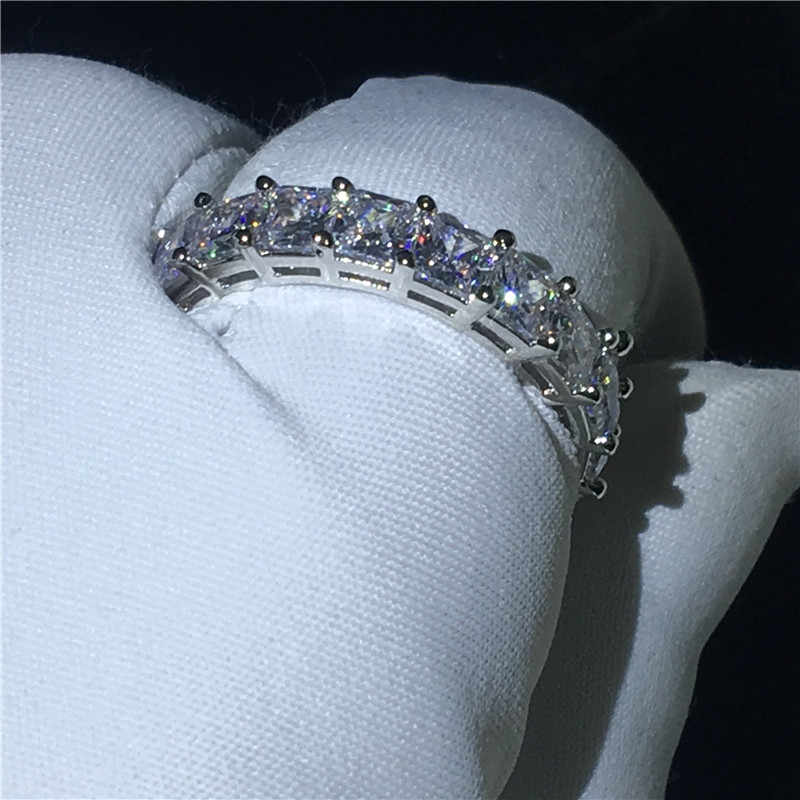 Vecalon fino anel de dedo completo princesa corte aaaaa cz 925 prata esterlina noivado casamento anéis de banda para mulher jóias de noiva