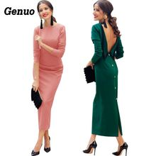 Genuo Low Back Vintage Dress 2018 New Arrival Spring Autumn Backless Bodycon Women Elegant Long Sleeve Split Maxi