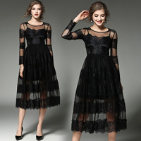 New Spring Summer Two Pieces Set Striped Lace Tulle Dresses Women Fashion Elegant Long Sleeve Maxi