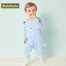 Balabala 2018 New Children pajamas baby rompers cotton newborn baby clothes long sleeve underwear costume boys girls autumn jump(China)