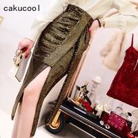 Cakucool Chic Gold Sequins Skirt High Waist Sashes High Slit Sexy Pencil Skirt Korean Slim Bodycon Midi Evening Party Skirts