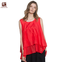 Jiqiuguer Women Solid Cotton Silk Tank Blouses Shirts Sleeveless O Neck Red Blue Plus Size Casual